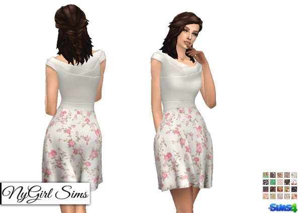 NY Girl Sims: Origami Flare Dress with Floral Skirt