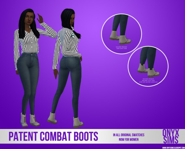 Onyx Sims: Female Patent Combat Boots
