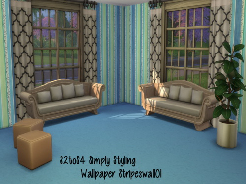 Chillis Sims: Wallpaper Stripes and matching Floor