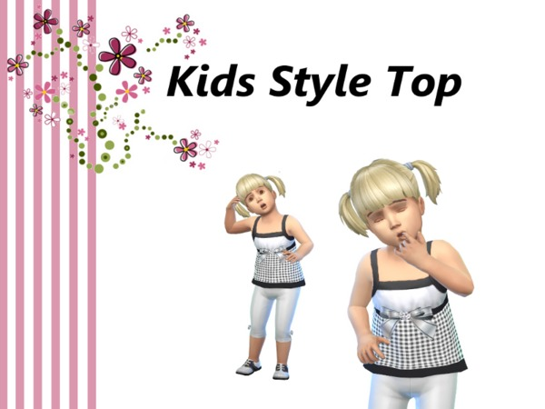 The Sims Resource: Toddler Party Bow Top by Kids Style Creations