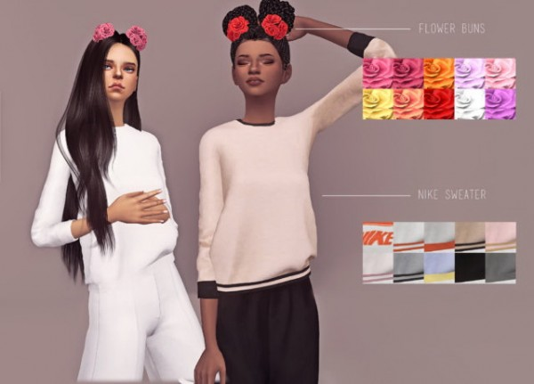 Dani Paradise: Sweater + flower buns