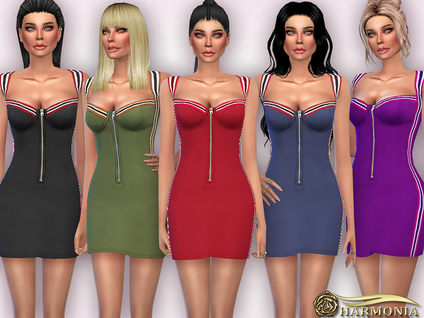 The Sims Resource: Side Striped Zip up Bodycon Dress by Harmonia