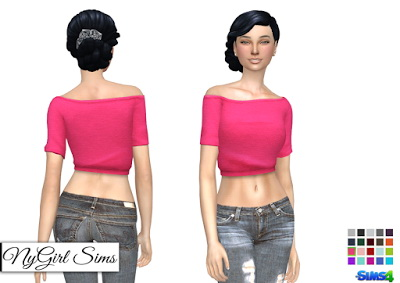 NY Girl Sims: Off Shoulder Brushed Cotton Crop Sweatshirt
