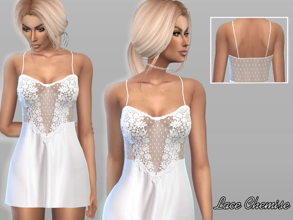 The Sims Resource: Lace Chemise by Pure Sim