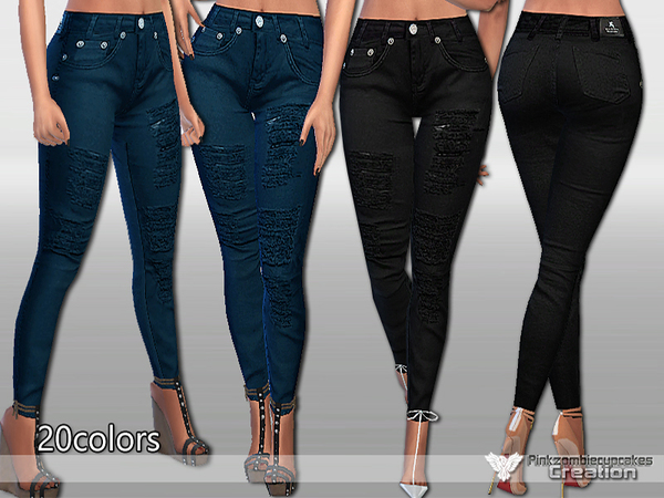 The Sims Resource: Chic Black Jeans by Pralinesims