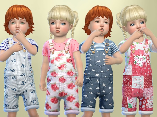 The Sims Resource: Toddlers Patterned overalls by SweetDreamsZzzzz