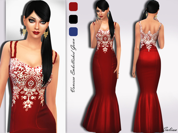 The Sims Resource: Vanessa Embellished Gown by Saliwa