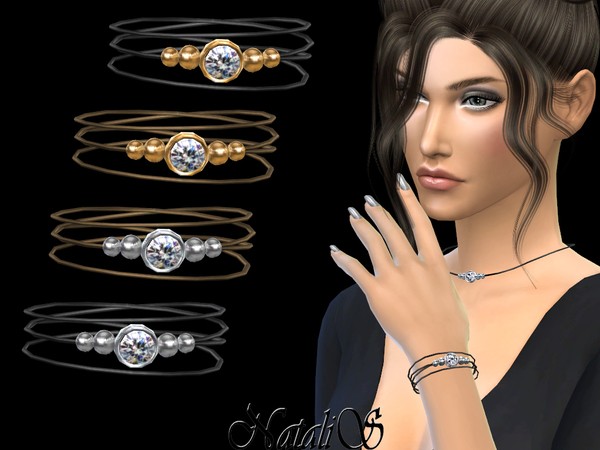 The Sims Resource: Leather bracelet with crystal clasp by NataliS