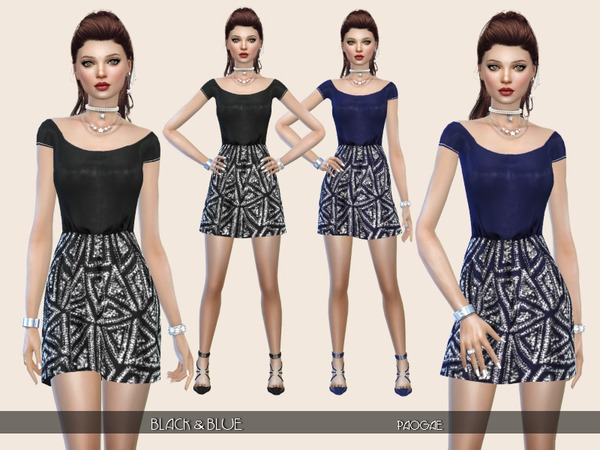 The Sims Resource: Black and Blue dress by Paogae