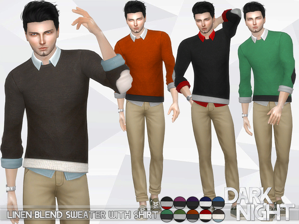 The Sims Resource: Linen Blend Sweater with Shirt by DarkNighTt