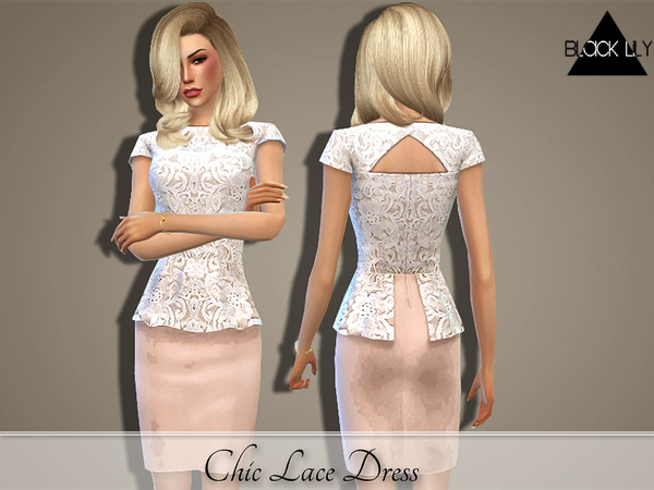 The Sims Resource Chic Lace Dress By Black Lily Sims 4