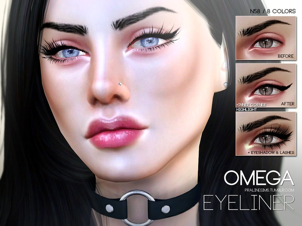 The Sims Resource: Omega Eyeliner N58 by Pralinesims