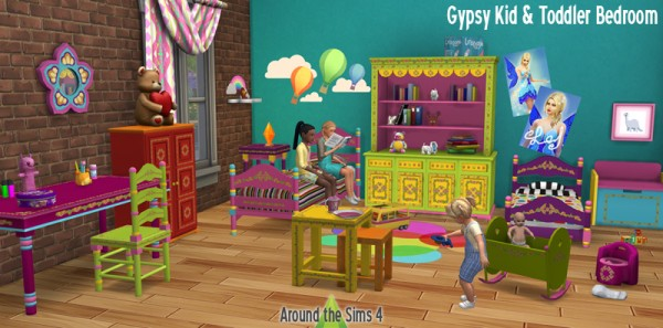 Around The Sims 4: Gypsy Kid and Toddler Bedroom