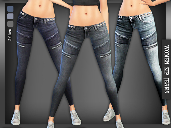 The Sims Resource: Designer Zip Jeans by Saliwa
