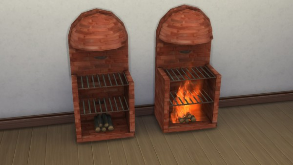 Mod The Sims: Medieval stove grill fireplace with animated fire by necrodog