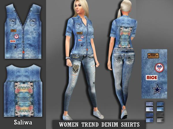 The Sims Resource: Women Denim Shirt by Saliwa