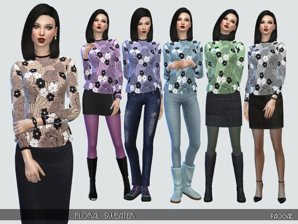 The Sims Resource: Floral Sweater by Paogae