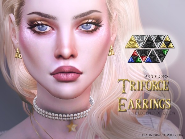 The Sims Resource: Triforce Earrings by Pralinesims