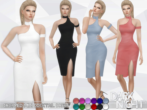 The Sims Resource: Cropped Midi Cocktail Dress by DarkNighTt