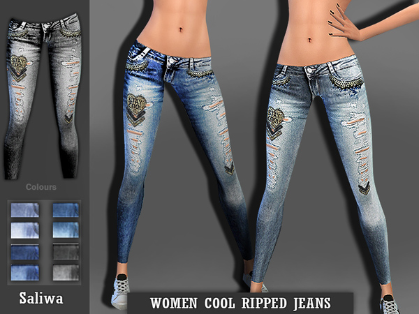 The Sims Resource: Women Cool Ripped Jeans by Saliwa