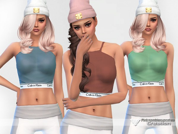 The Sims Resource: Saturday Designer Crop Top by Pinkzombiecupcakes