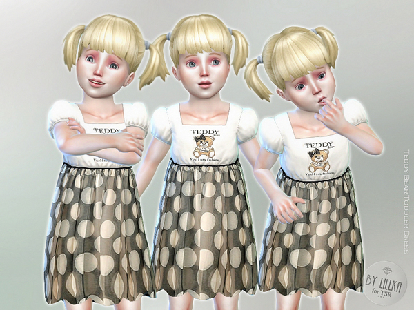 The Sims Resource: Teddy Bear Toddler Dress by lillka