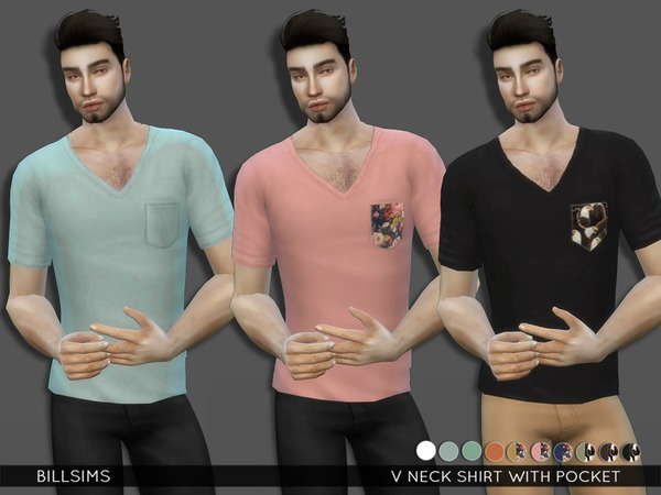 The Sims Resource: V Neck T Shirt with Pocket by BillSims