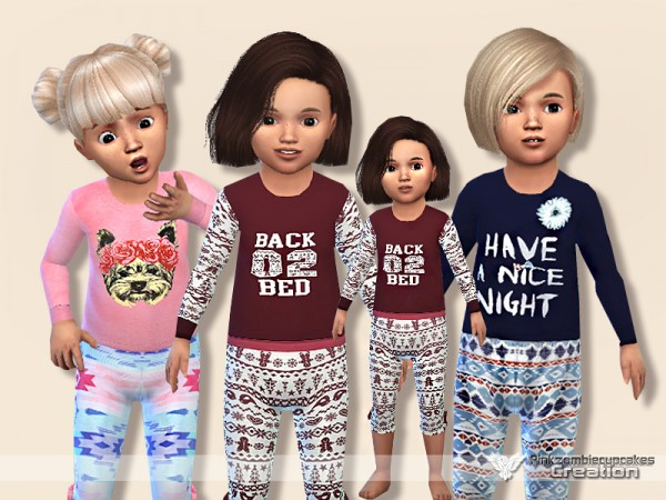 The Sims Resource: Pyjama Outfit for Toddler Collection 01 by Pinkzombiecupcakes