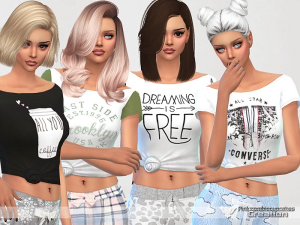 The Sims Resource: Dreaming is Free pajama tee collection by Pinkzombiecupcakes