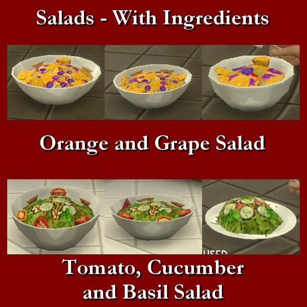 Mod The Sims: Custom Food Salads With Ingredients 1 by Leniad