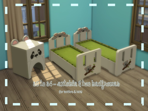 Chillis Sims: Animal Endtable and Two Bedframes