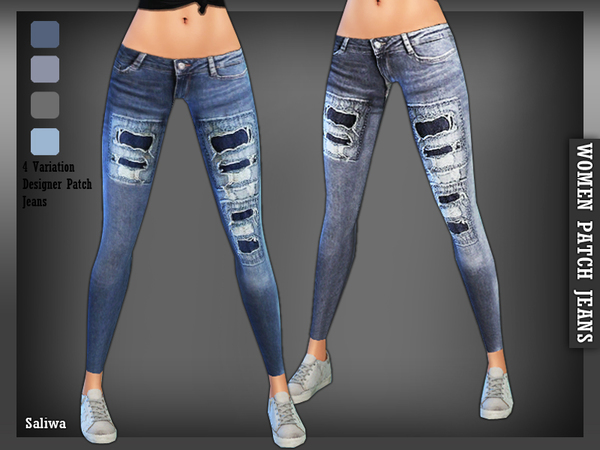 The Sims Resource: Designer Patch Jeans by Saliwa