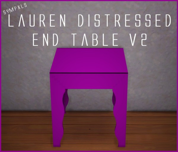 Simsworkshop: Sympxls Lauren Distressed End Table v2