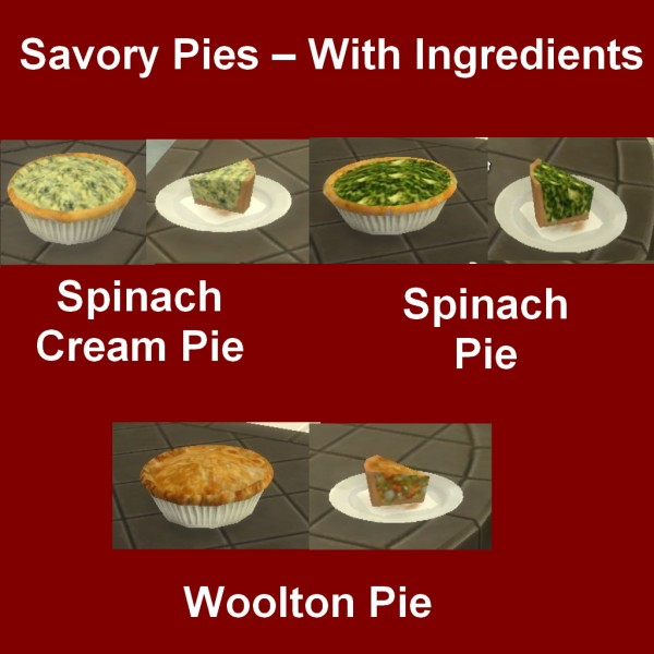 Simsworkshop: Savory Pies – With Ingredients by Leniad
