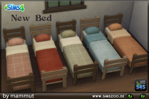Blackys Sims 4 Zoo: Wooden bed by mammut