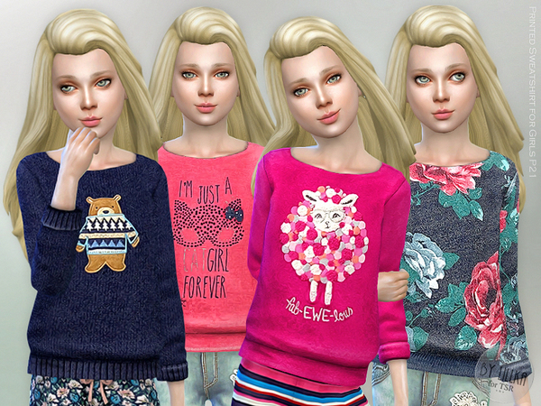 The Sims Resource: Printed Sweatshirt for Girls P21 by lillka