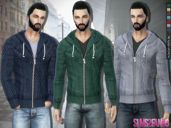 The Sims Resource: 289   Knitwear with Zip and Hood by sims2fanbg