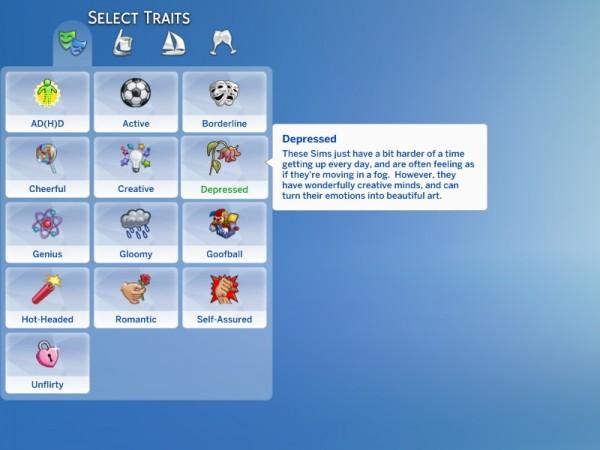 Mod The Sims: Depressed Trait by saphryn