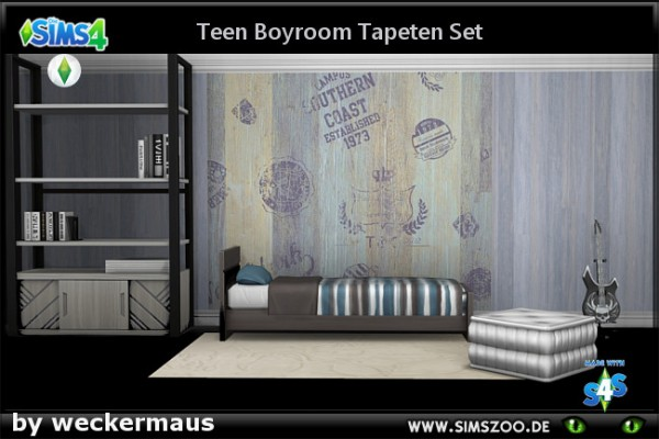 Blackys Sims 4 Zoo: Teen boy walls 01 by weckermaus
