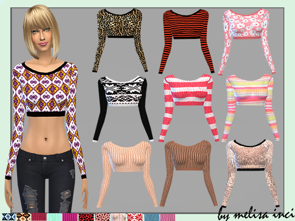 The Sims Resource: Long Sleeve Crop Tops by Melisa Inci