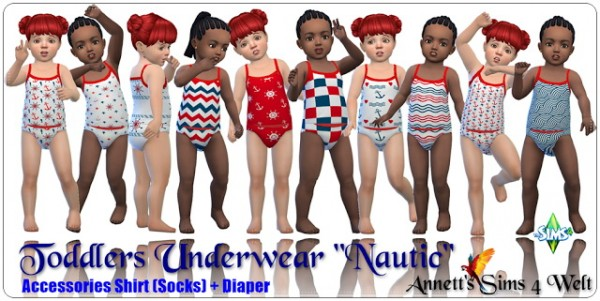 Annett`s Sims 4 Welt: Toddlers Underwear Nautic