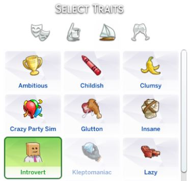 Mod The Sims: Introvert Trait by theswarm