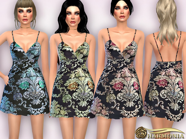 The Sims Resource: Baroque Florals Jacquard Dress by Harmonia