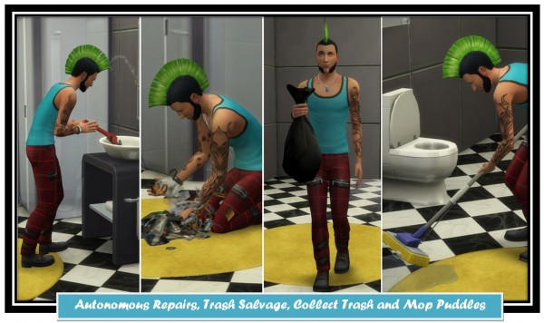 Mod The Sims: Autonomous Repairs, Trash Salvage, Collect Trash and Mop Puddles by LittleMsSam