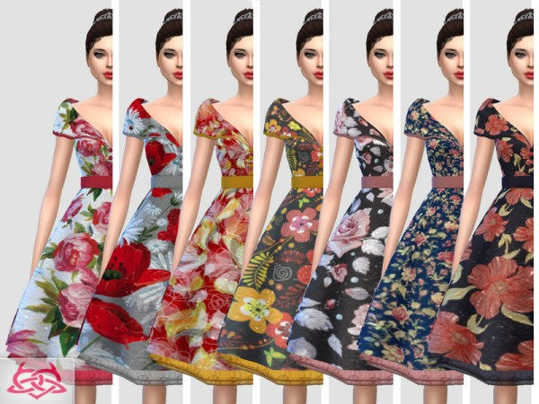 The Sims Resource: Paloma dress floral by Colores Urbanos
