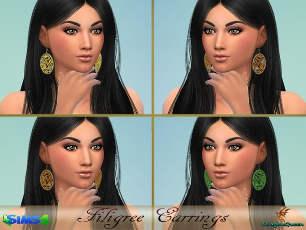 The Sims Resource: Filigree Earrings by DragonQueen