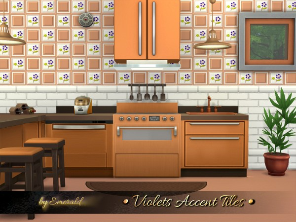 The Sims Resource: Violets Accent Tiles by emerald