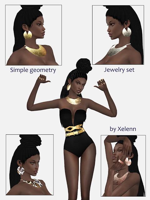 The Sims 4 Xelenn: Simple Geometry jewelry set