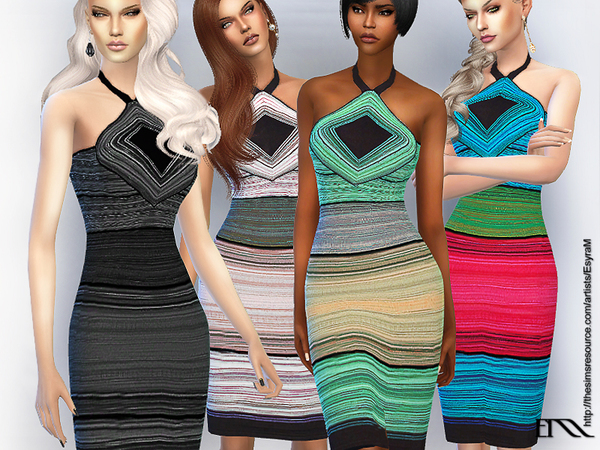 The Sims Resource: Strapless striped dress by EsyraM