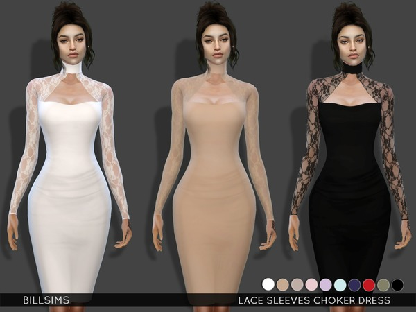 The Sims Resource: Lace Sleeves Choker Dress by Bill Sims